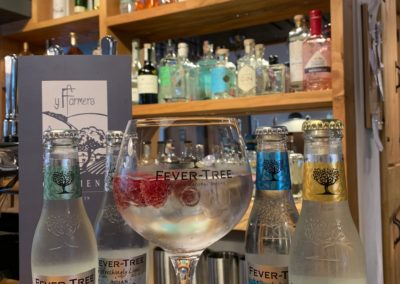 Gin Display, YFFarmers, Restaurants nearby, Aberystwyth